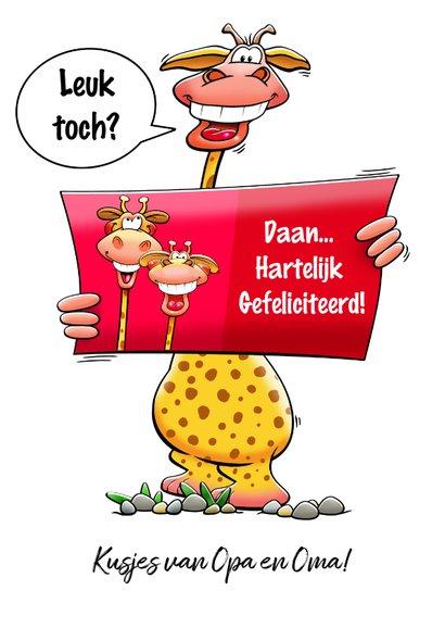 Leuke verjaardagskaart met giraf met kaartje en postbus 3