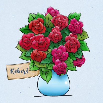 Leuke verjaardagskaart met grappig beertje en rozenstruik 3