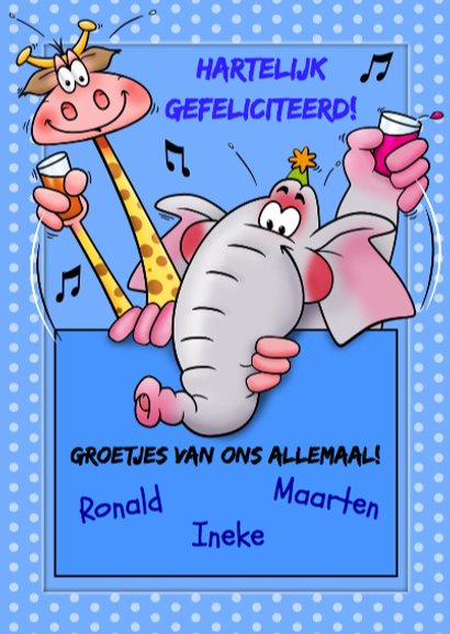 Leuke verjaardagskaart met grappige giraf en olifant 3
