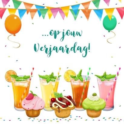 Leuke verjaardagskaart met heerlijke limonade en cupcakes 3