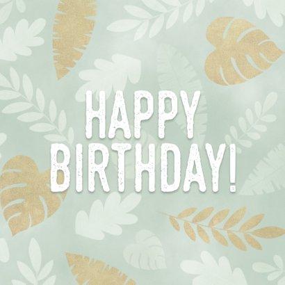 Leuke verjaardagskaart met junglepatroon wit en goud 2