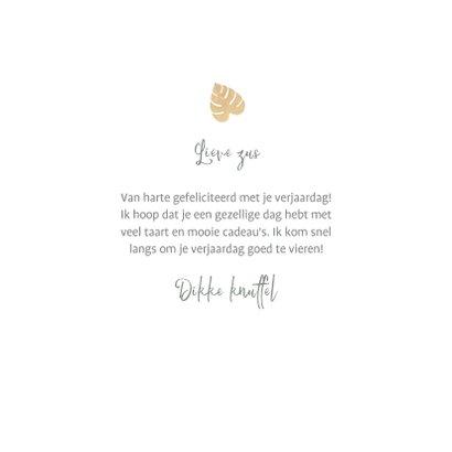 Leuke verjaardagskaart met junglepatroon wit en goud 3