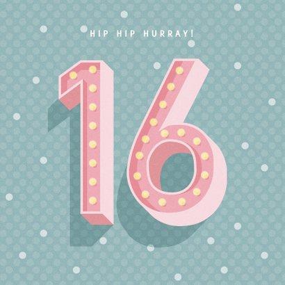 Leuke verjaardagskaart met lichtbak cijfers '16' 2