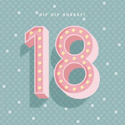 Leuke verjaardagskaart met lichtbak cijfers '18' 2