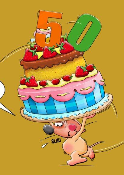 Leuke verjaardagskaart met  muisje en grote taart 3