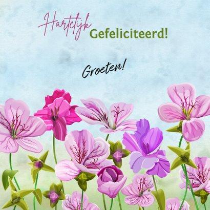 Leuke verjaardagskaart met roze bloemen en muisje 3