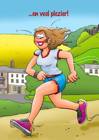 Leuke verjaardagskaart met vrouw die aan hardlopen doet 2