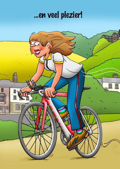Leuke verjaardagskaart met wielrenner in een mooie omgeving 2