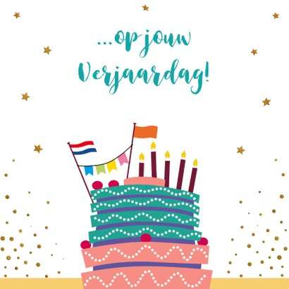 Leuke verjaardagskaart met wijnglazen, handen en taart 3