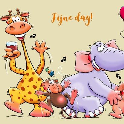 Leuke verjaardagskaart voor kind met dieren en limonade 2