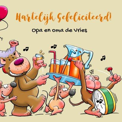 Leuke verjaardagskaart voor kind met dieren en limonade 3