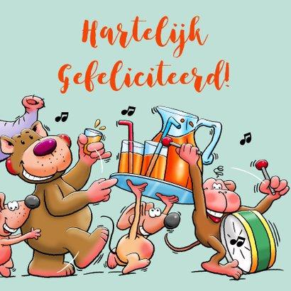 Leuke verjaardagskaart voor kleuter met dieren en limonade 3