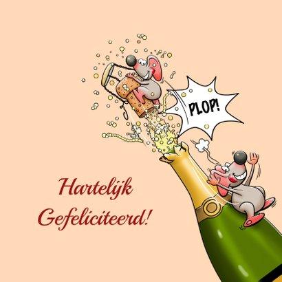 Leuke verjaardagskaart voor vrouw met muizen en champagne 3