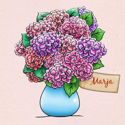 Leuke vriendschapskaart met hortensia, geplukt voor vriendin 3