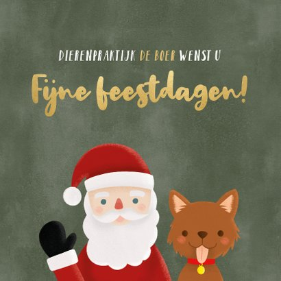 Leuke zakelijke kerstkaart dieren branch kerstman en hondje 2