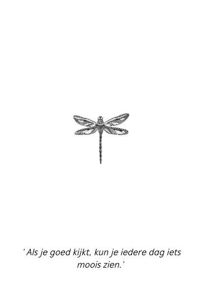 Libelle zwart/wit illustratie 2