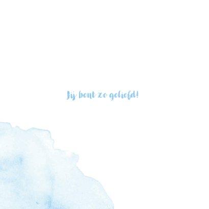 Lichtblauw geboortekaartje met waterverf 2