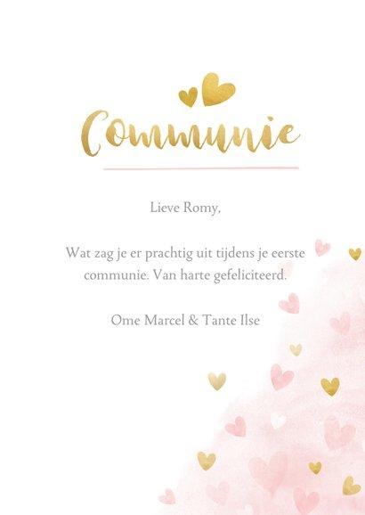 Lief felicitatiekaartje communie roze waterverf met hartjes  3