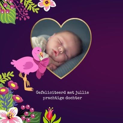 Lief felicitatiekaartje met papa, mama en baby flamingo 2
