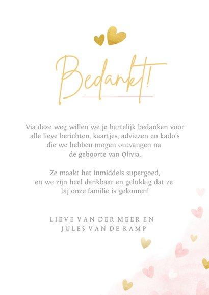 Lief geboorte bedankkaartje met foto voor een meisje  3