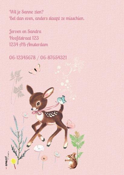 Lief geboortekaartje HERTJE Roze 2