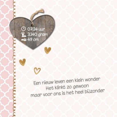 Lief geboortekaartje hout look en roze patroon  2