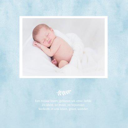 Lief geboortekaartje jongen met blauwe baby voetjes  2
