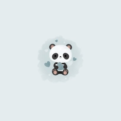 Lief geboortekaartje jongen met panda, hartjes en waterverf Achterkant