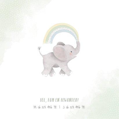 Lief geboortekaartje jongen olifant, regenboog en waterverf 2