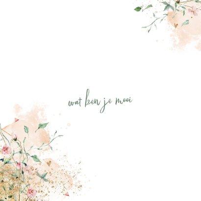 Lief geboortekaartje meisje met fijne bloemetjes 2