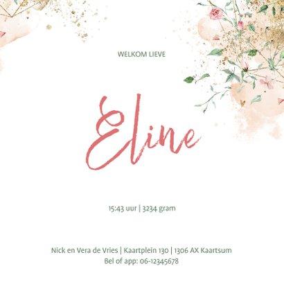 Lief geboortekaartje meisje met fijne bloemetjes 3