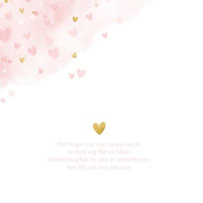 Lief geboortekaartje meisje met roze en gouden hartjes  2