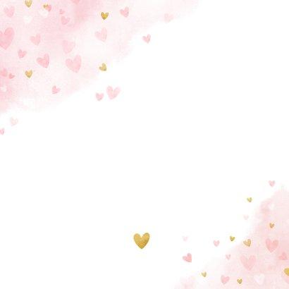 Lief geboortekaartje meisje met roze en gouden hartjes  Achterkant