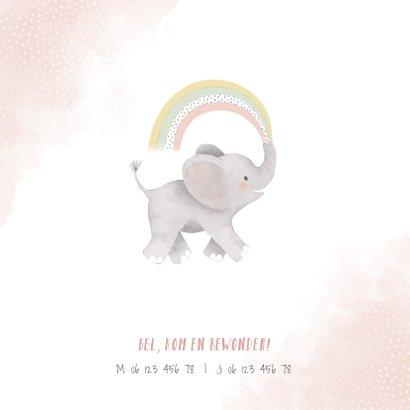 Lief geboortekaartje meisje olifant, regenboog en waterverf 2