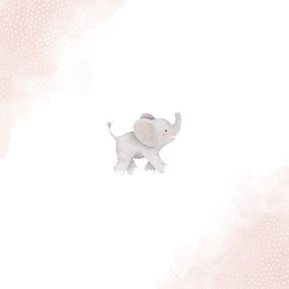 Lief geboortekaartje meisje olifant, regenboog en waterverf Achterkant