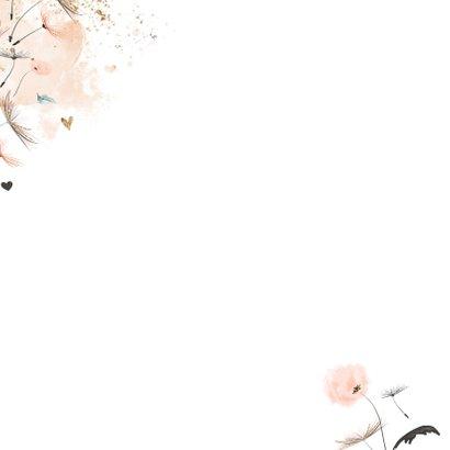 Lief geboortekaartje meisje roze paardenbloem Achterkant