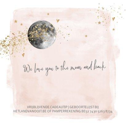Lief geboortekaartje meisje roze watercolor en maan 2