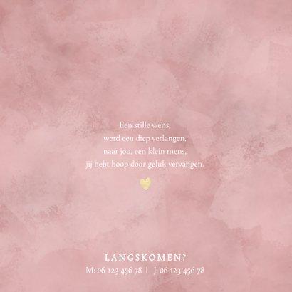 Lief geboortekaartje meisje roze waterverf en gouden hartjes 2