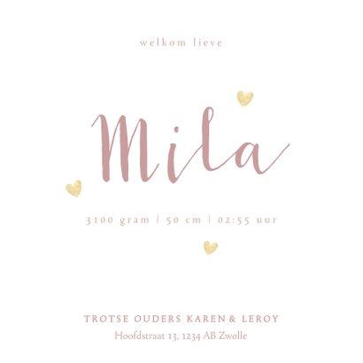 Lief geboortekaartje meisje roze waterverf en gouden hartjes 3