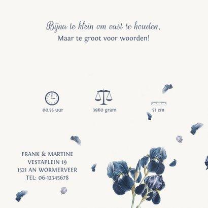 Lief geboortekaartje met blauwe jasmijn bloemen 3