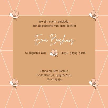 Lief geboortekaartje met bloesem patroon in pastel kleuren 3