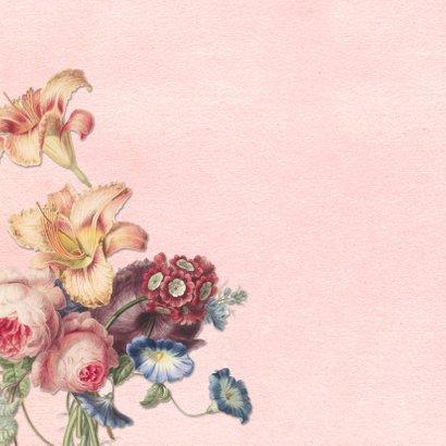 Lief geboortekaartje met foto en vintage bloemen 2