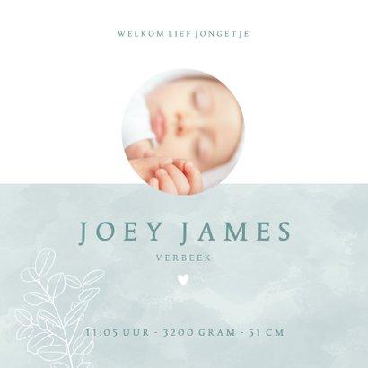 Lief geboortekaartje met foto plantje & hartje voor jongetje 3