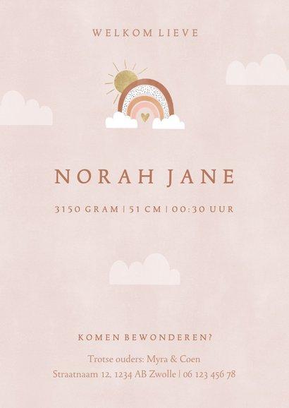 Lief geboortekaartje met foto's, regenboog en wolkjes 3
