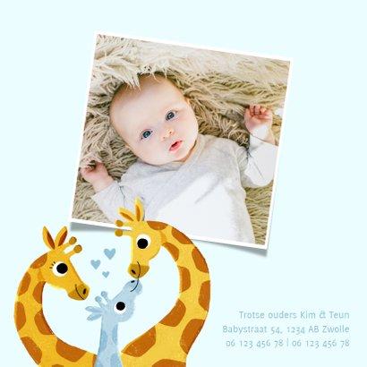 Lief geboortekaartje met giraffes en hartjes voor jongen 2