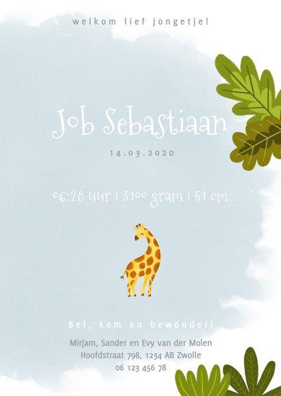 Lief geboortekaartje met giraffe, plantjes en waterverf 3