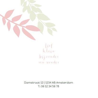 Lief geboortekaartje met groene en roze takjes 2
