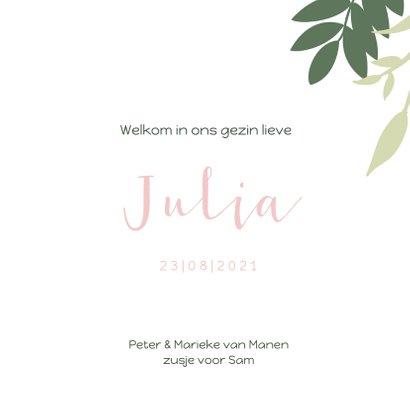Lief geboortekaartje met groene en roze takjes 3