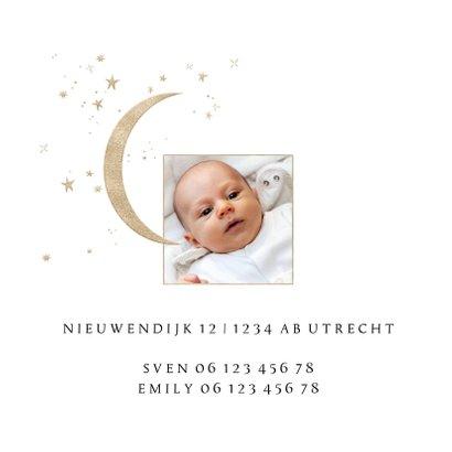 Lief geboortekaartje met maan en sterren in goudlook 2