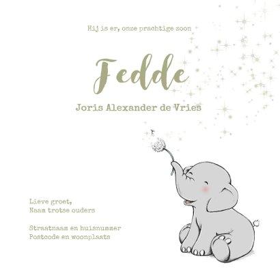 Lief geboortekaartje met olifantje en sterren jongen  3